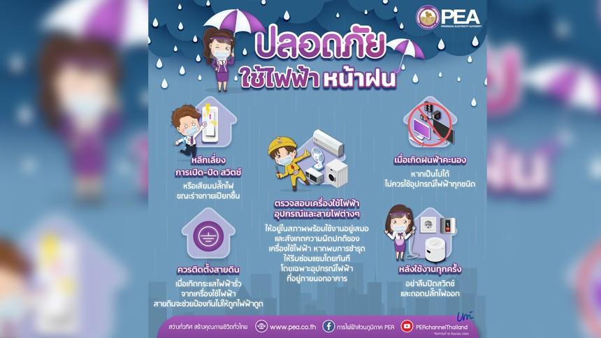PEA เตือนภัยจากการใช้ไฟฟ้าช่วงฤดูฝน