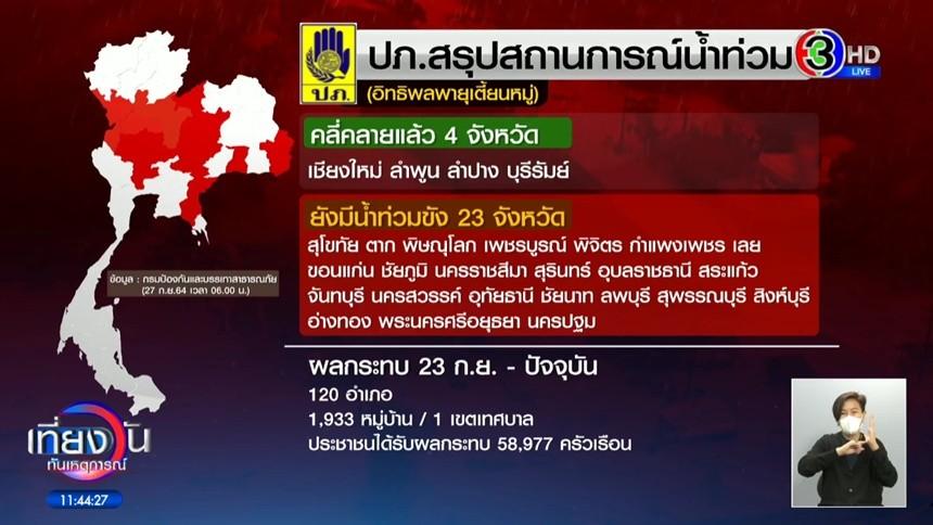 ปภ.เผย อิทธิพลพายุ 'เตี้ยนหมู่' ส่งผลน้ำท่วมขัง 23 จว. เดือดร้อนกว่า 5 หมื่นครัวเรือน